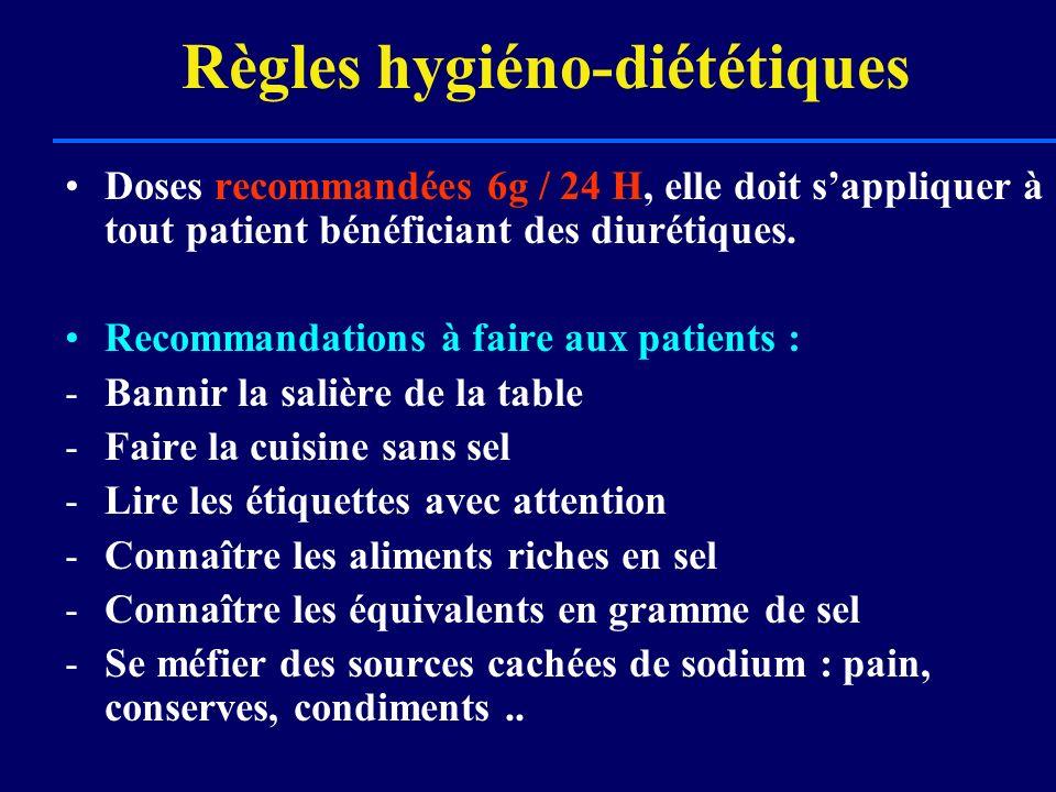 Règles hygiéno-diététiques Doses recommandées 6g / 24 H, elle doit sappliquer à tout patient bénéficiant des diurétiques. Recommandations à faire aux