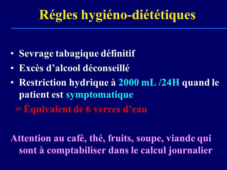 Régles hygiéno-diététiques Sevrage tabagique définitif Excès dalcool déconseillé Restriction hydrique à 2000 mL /24H quand le patient est symptomatiqu