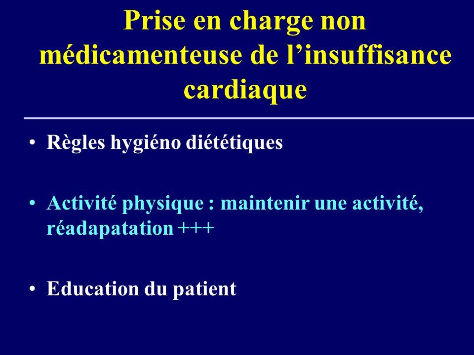 Prise en charge non médicamenteuse de linsuffisance cardiaque Règles hygiéno diététiques Activité physique : maintenir une activité, réadapatation +++