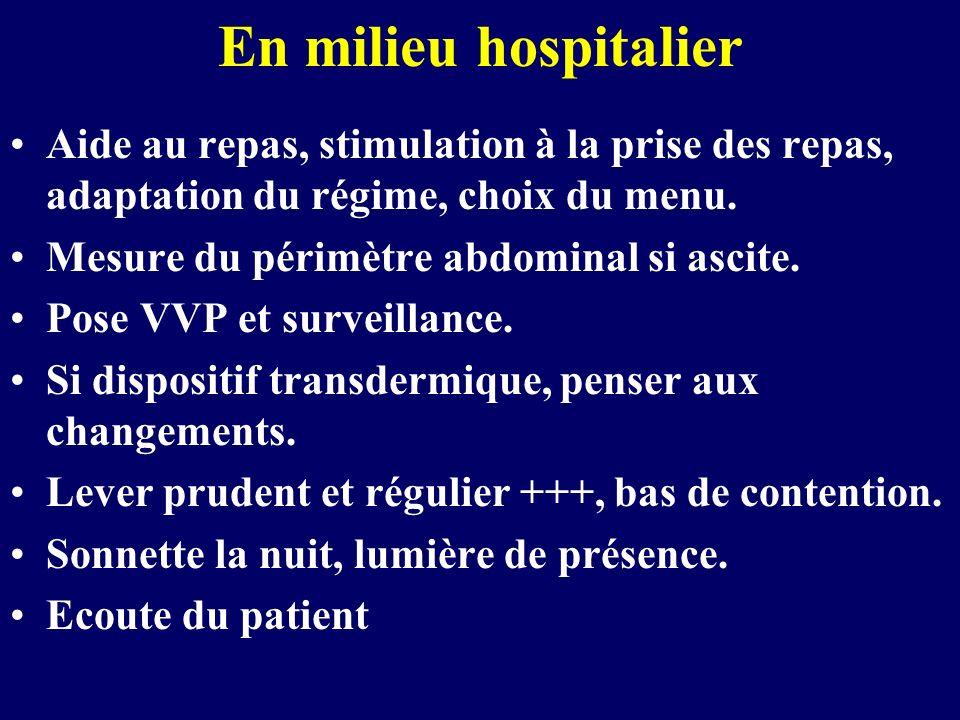 En milieu hospitalier Aide au repas, stimulation à la prise des repas, adaptation du régime, choix du menu. Mesure du périmètre abdominal si ascite. P
