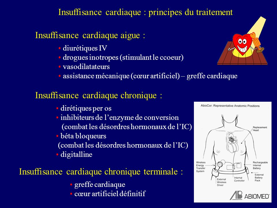 Insuffisance cardiaque : principes du traitement Insuffisance cardiaque aigue : diurétiques IV drogues inotropes (stimulant le ccoeur) vasodilatateurs