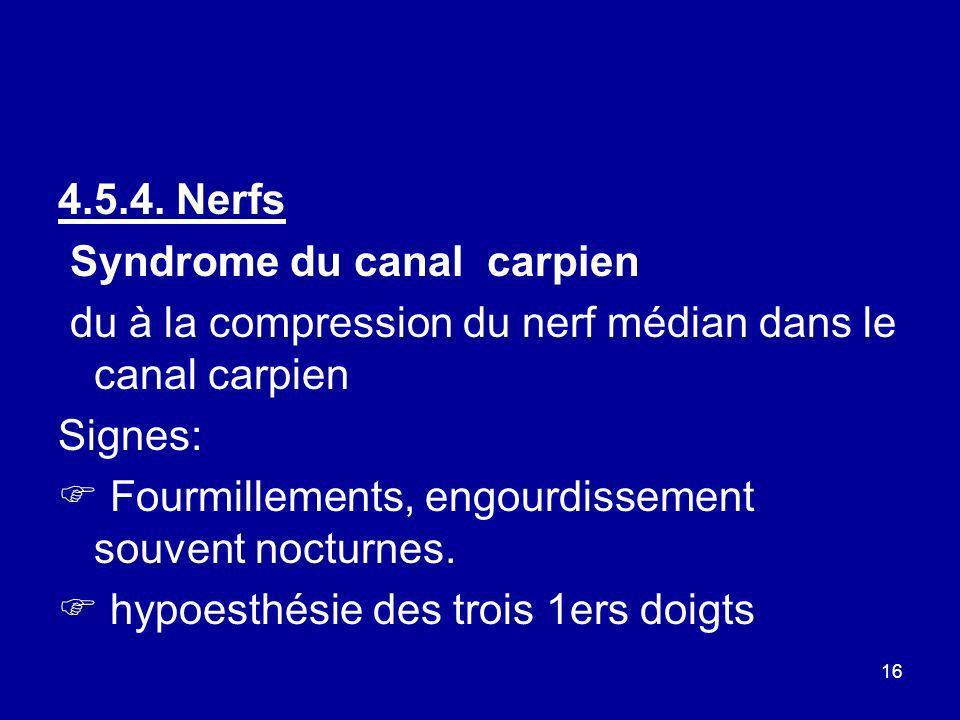 16 4.5.4. Nerfs Syndrome du canal carpien du à la compression du nerf médian dans le canal carpien Signes: Fourmillements, engourdissement souvent noc
