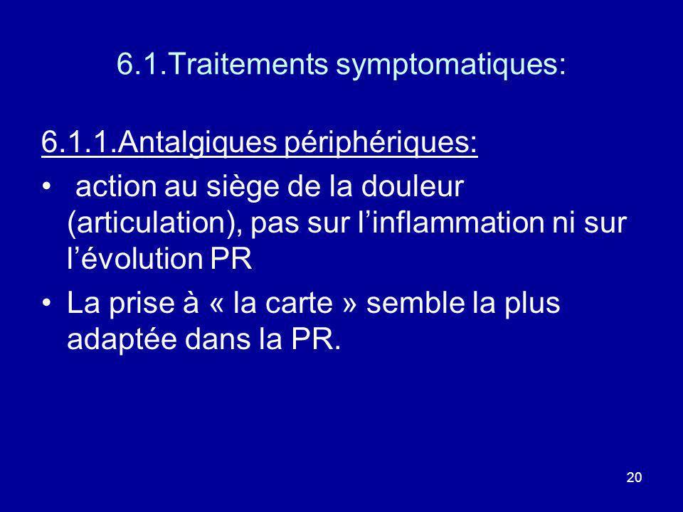 20 6.1.Traitements symptomatiques: 6.1.1.Antalgiques périphériques: action au siège de la douleur (articulation), pas sur linflammation ni sur lévolut