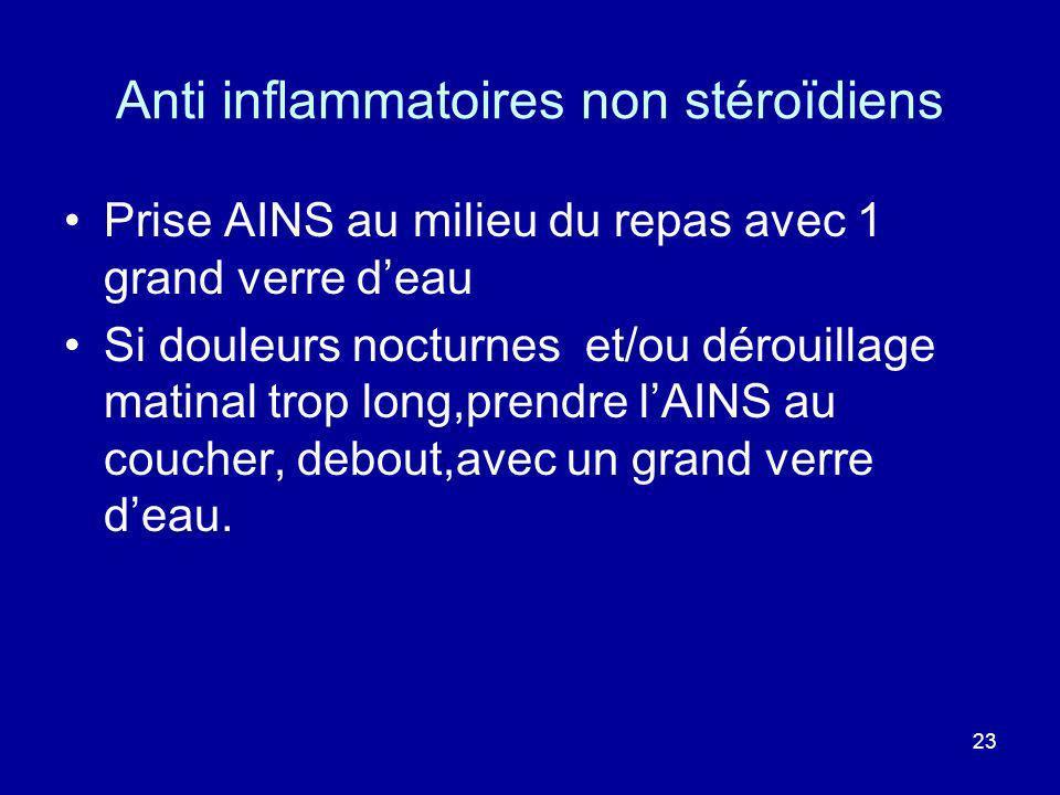 23 Anti inflammatoires non stéroïdiens Prise AINS au milieu du repas avec 1 grand verre deau Si douleurs nocturnes et/ou dérouillage matinal trop long