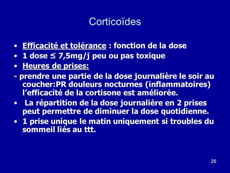 25 Corticoïdes Efficacité et tolérance : fonction de la dose 1 dose 7,5mg/j peu ou pas toxique Heures de prises: - prendre une partie de la dose journ