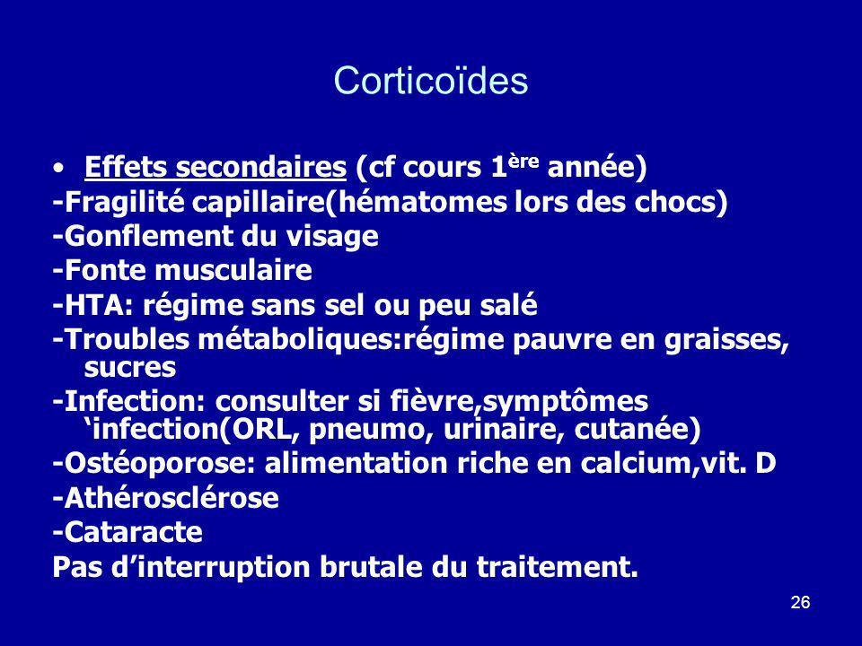 26 Corticoïdes Effets secondaires (cf cours 1 ère année) -Fragilité capillaire(hématomes lors des chocs) -Gonflement du visage -Fonte musculaire -HTA: