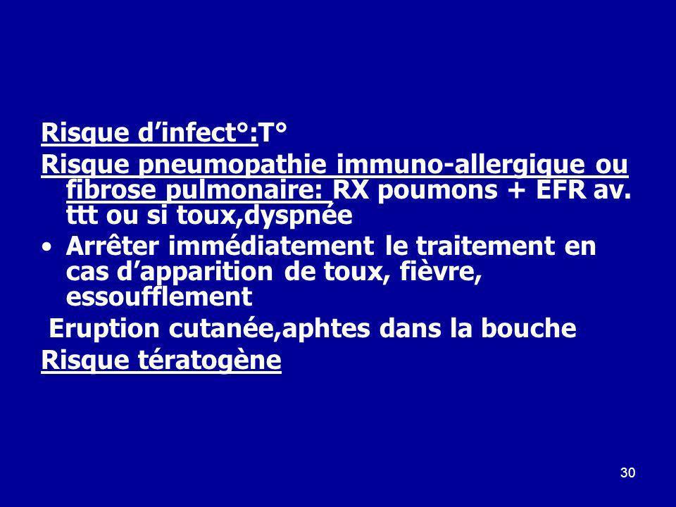 30 Risque dinfect°:T° Risque pneumopathie immuno-allergique ou fibrose pulmonaire: RX poumons + EFR av. ttt ou si toux,dyspnée Arrêter immédiatement l