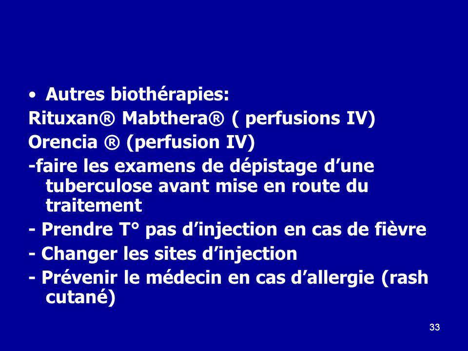 33 Autres biothérapies: Rituxan® Mabthera® ( perfusions IV) Orencia ® (perfusion IV) -faire les examens de dépistage dune tuberculose avant mise en ro