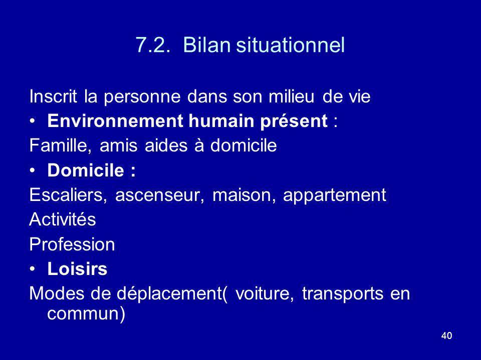 40 7.2. Bilan situationnel Inscrit la personne dans son milieu de vie Environnement humain présent : Famille, amis aides à domicile Domicile : Escalie