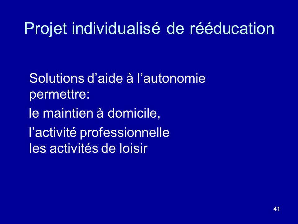 41 Projet individualisé de rééducation Solutions daide à lautonomie permettre: le maintien à domicile, lactivité professionnelle les activités de lois