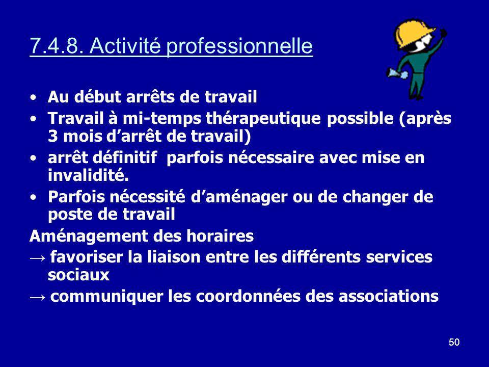 50 7.4.8. Activité professionnelle Au début arrêts de travail Travail à mi-temps thérapeutique possible (après 3 mois darrêt de travail) arrêt définit