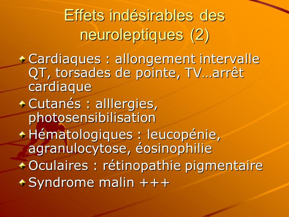 Effets indésirables des neuroleptiques (2) Cardiaques : allongement intervalle QT, torsades de pointe, TV…arrêt cardiaque Cutanés : alllergies, photos