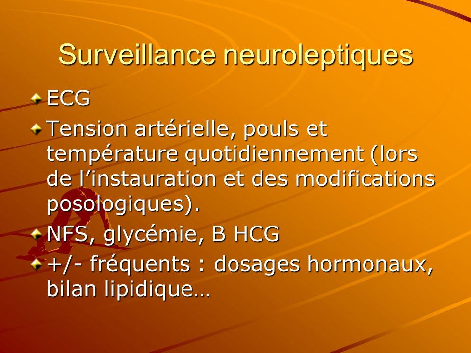 Surveillance neuroleptiques ECG Tension artérielle, pouls et température quotidiennement (lors de linstauration et des modifications posologiques). NF