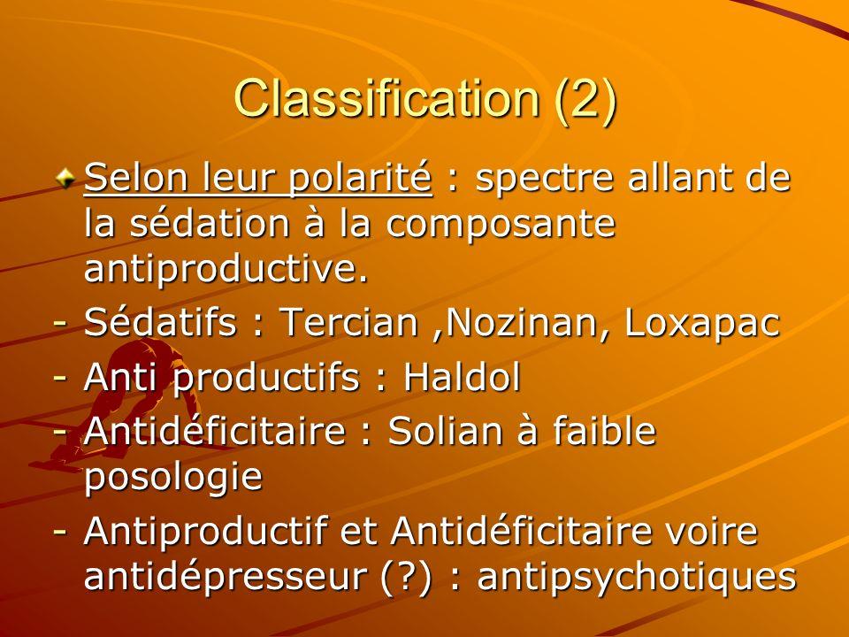 Classification (2) Selon leur polarité : spectre allant de la sédation à la composante antiproductive. -Sédatifs : Tercian,Nozinan, Loxapac -Anti prod