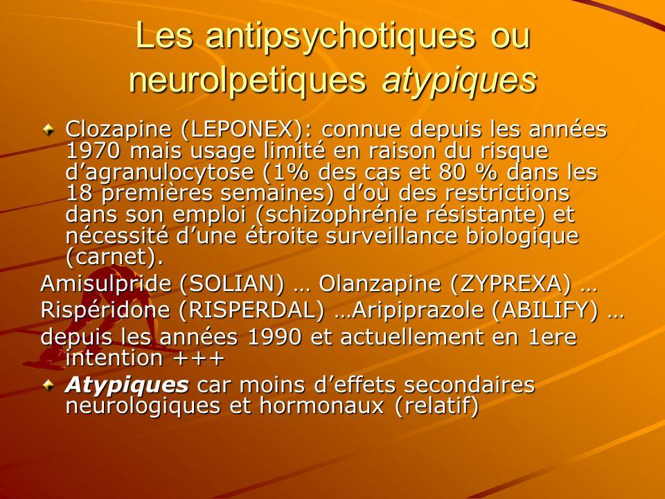 Les antipsychotiques ou neurolpetiques atypiques Clozapine (LEPONEX): connue depuis les années 1970 mais usage limité en raison du risque dagranulocyt