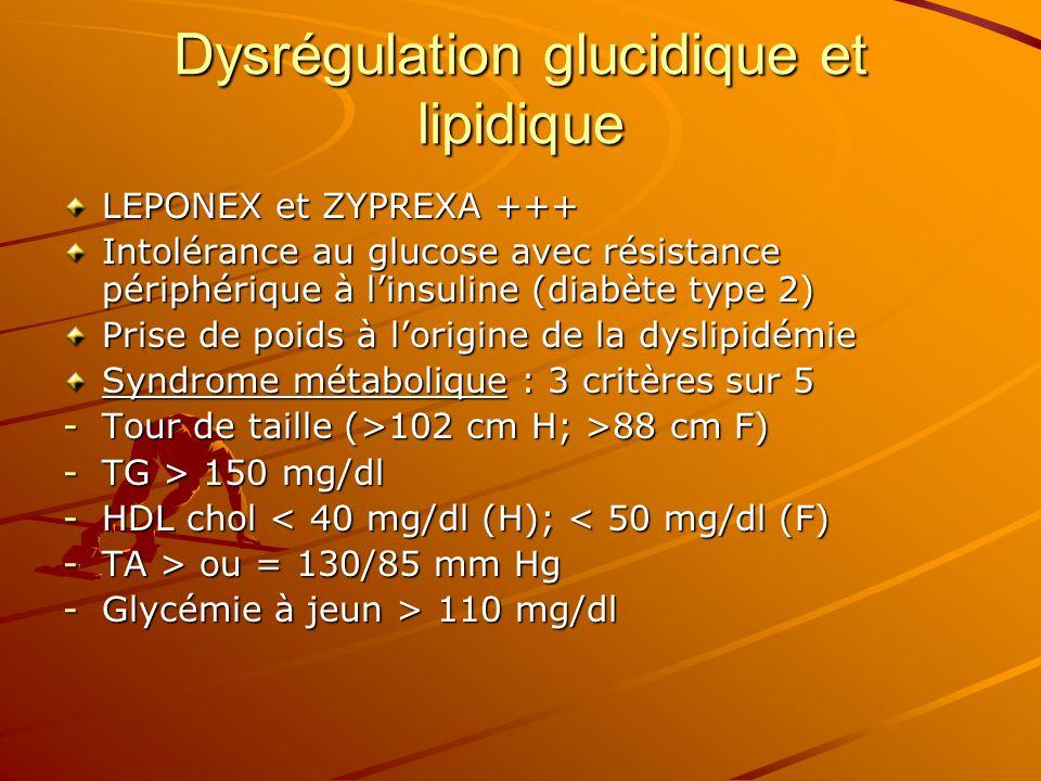 Dysrégulation glucidique et lipidique LEPONEX et ZYPREXA +++ Intolérance au glucose avec résistance périphérique à linsuline (diabète type 2) Prise de