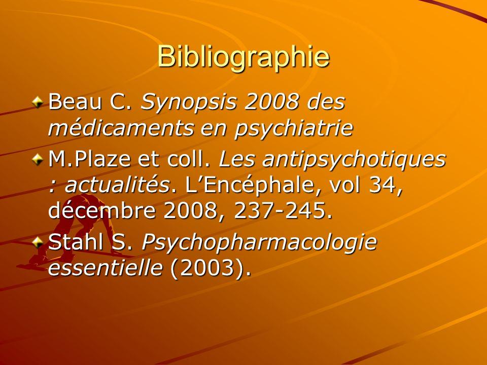 Bibliographie Beau C. Synopsis 2008 des médicaments en psychiatrie M.Plaze et coll. Les antipsychotiques : actualités. LEncéphale, vol 34, décembre 20