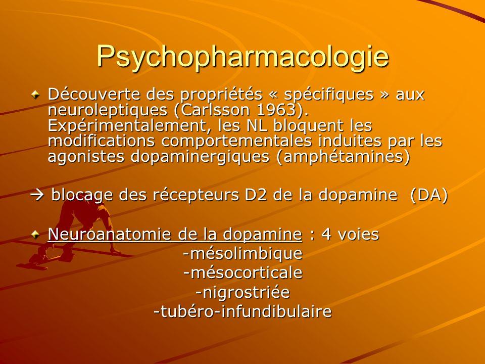 Psychopharmacologie Découverte des propriétés « spécifiques » aux neuroleptiques (Carlsson 1963). Expérimentalement, les NL bloquent les modifications