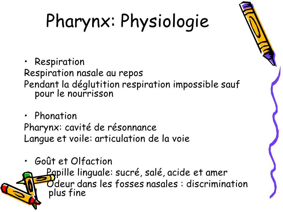 Pharynx: Sémiologie Douleurs: cavité buccale, odynophagie Saignements Dysphagie, accrochage alimentaire Atteinte laryngée: dyspnée, dysphonie, fausses routes Altération de létat général Masse cervicale Otalgie reflexe