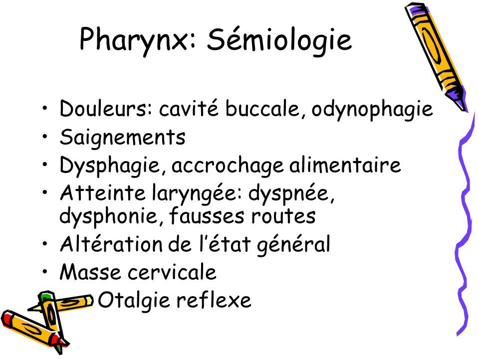 Pharynx: Sémiologie Douleurs: cavité buccale, odynophagie Saignements Dysphagie, accrochage alimentaire Atteinte laryngée: dyspnée, dysphonie, fausses