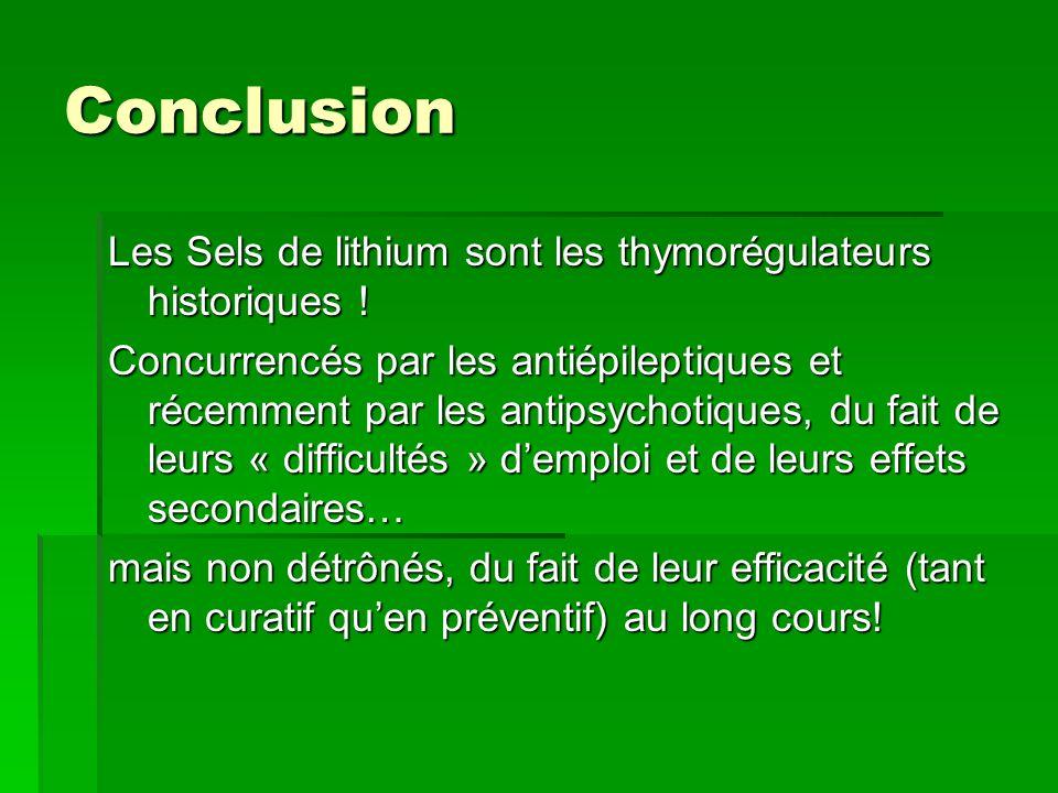 Conclusion Les Sels de lithium sont les thymorégulateurs historiques .