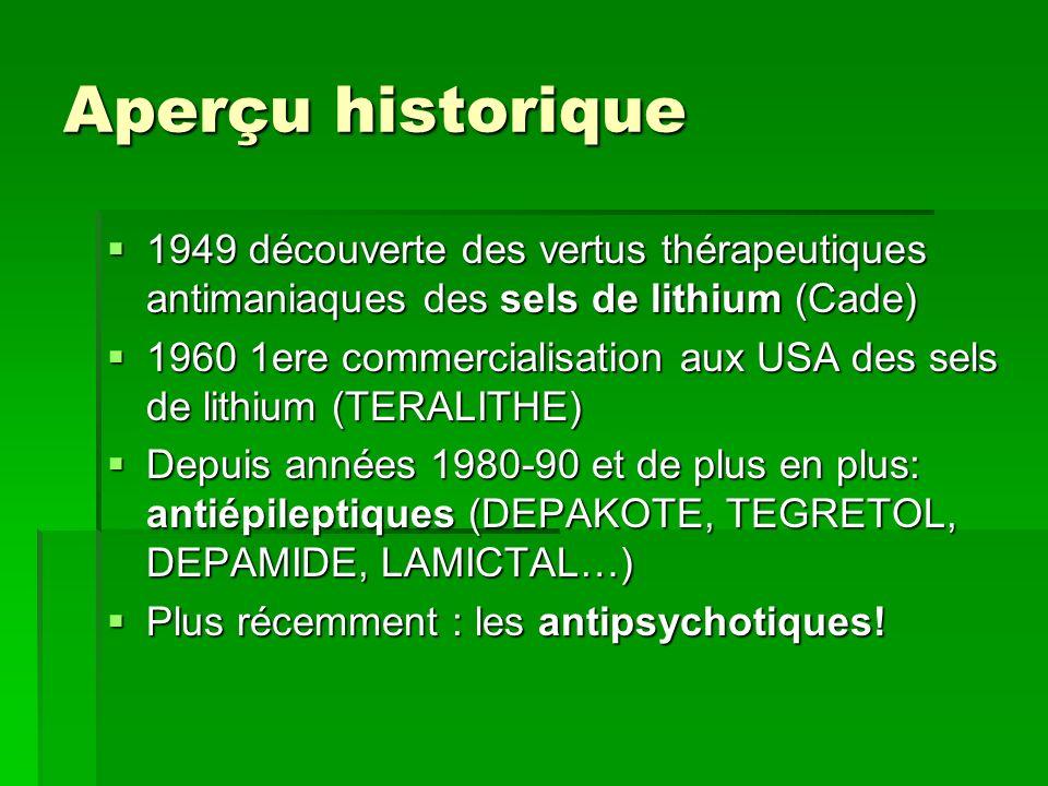 Aperçu historique 1949 découverte des vertus thérapeutiques antimaniaques des sels de lithium (Cade) 1949 découverte des vertus thérapeutiques antimaniaques des sels de lithium (Cade) 1960 1ere commercialisation aux USA des sels de lithium (TERALITHE) 1960 1ere commercialisation aux USA des sels de lithium (TERALITHE) Depuis années 1980-90 et de plus en plus: antiépileptiques (DEPAKOTE, TEGRETOL, DEPAMIDE, LAMICTAL…) Depuis années 1980-90 et de plus en plus: antiépileptiques (DEPAKOTE, TEGRETOL, DEPAMIDE, LAMICTAL…) Plus récemment : les antipsychotiques.