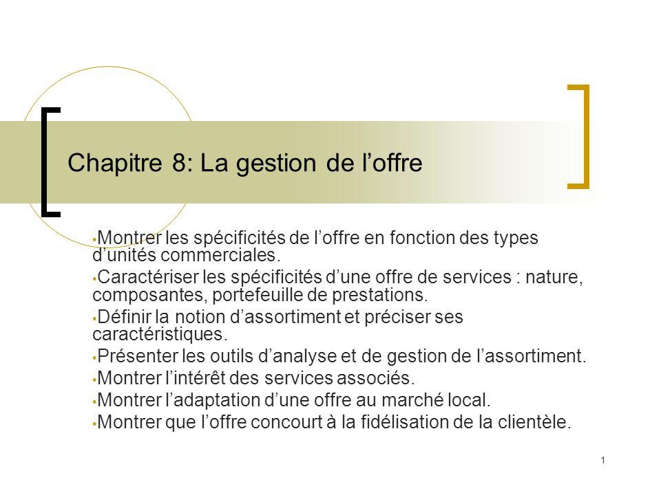 1 Chapitre 8: La gestion de loffre Montrer les spécificités de loffre en fonction des types dunités commerciales. Caractériser les spécificités dune o