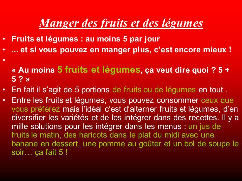 Manger des fruits et des légumes Fruits et légumes : au moins 5 par jour...