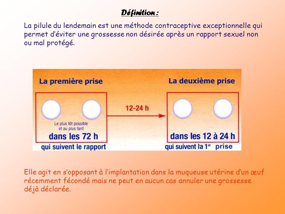 Définition : La pilule du lendemain est une méthode contraceptive exceptionnelle qui permet déviter une grossesse non désirée après un rapport sexuel
