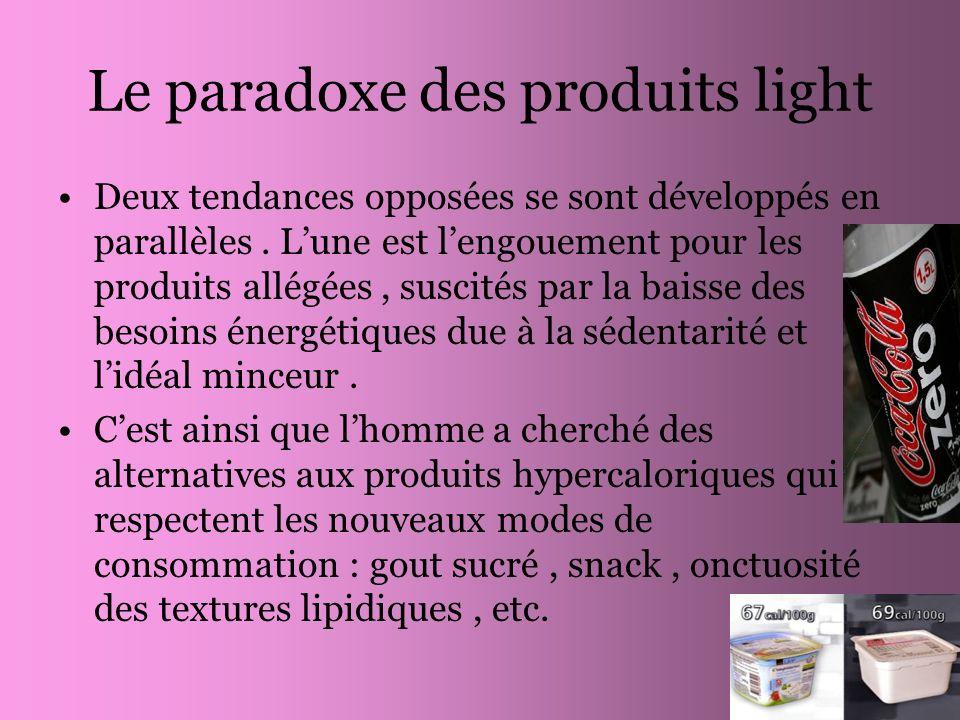 Le paradoxe des produits light Deux tendances opposées se sont développés en parallèles. Lune est lengouement pour les produits allégées, suscités par