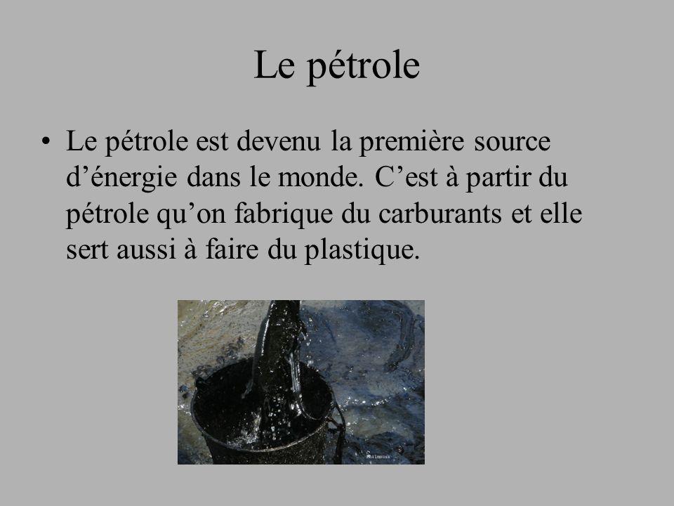 Le pétrole Le pétrole est devenu la première source dénergie dans le monde.