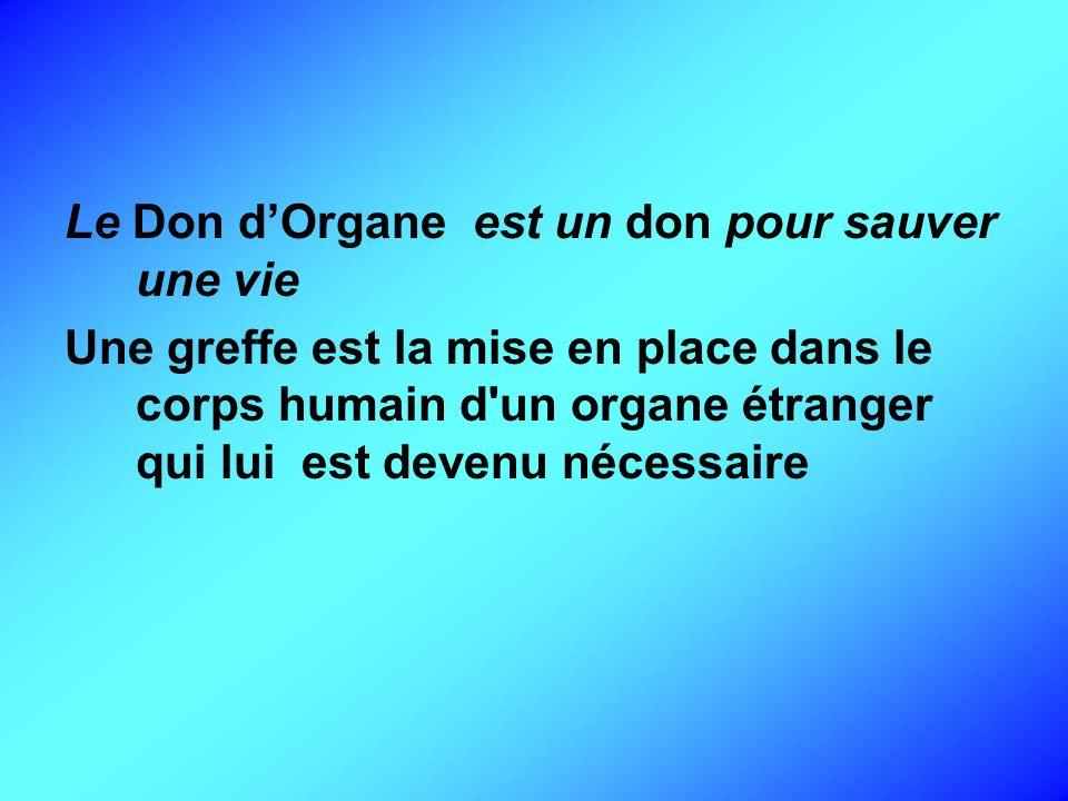 Le Don dOrgane est un don pour sauver une vie Une greffe est la mise en place dans le corps humain d'un organe étranger qui lui est devenu nécessaire