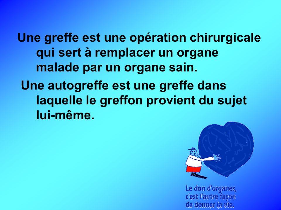 Une greffe est une opération chirurgicale qui sert à remplacer un organe malade par un organe sain. Une autogreffe est une greffe dans laquelle le gre