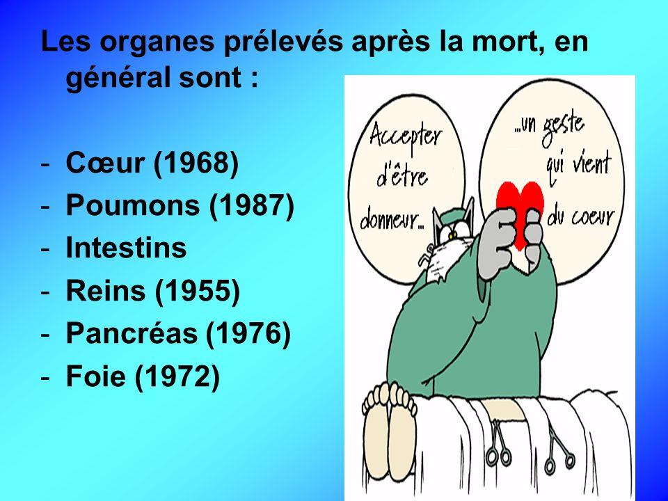 Les organes prélevés après la mort, en général sont : -Cœur (1968) -Poumons (1987) -Intestins -Reins (1955) -Pancréas (1976) -Foie (1972)