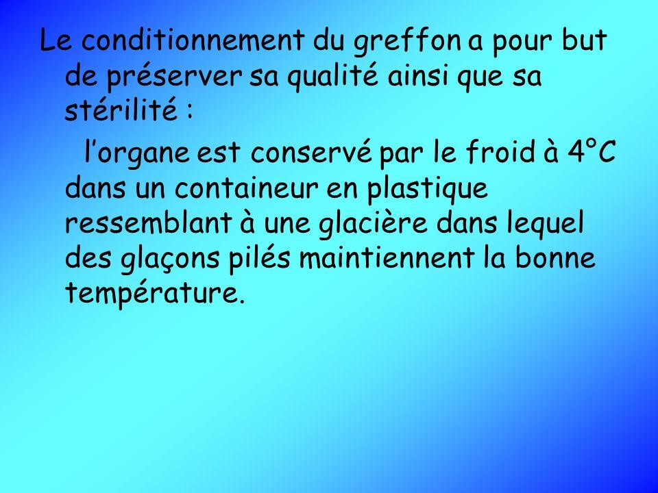 Le conditionnement du greffon a pour but de préserver sa qualité ainsi que sa stérilité : lorgane est conservé par le froid à 4°C dans un containeur e