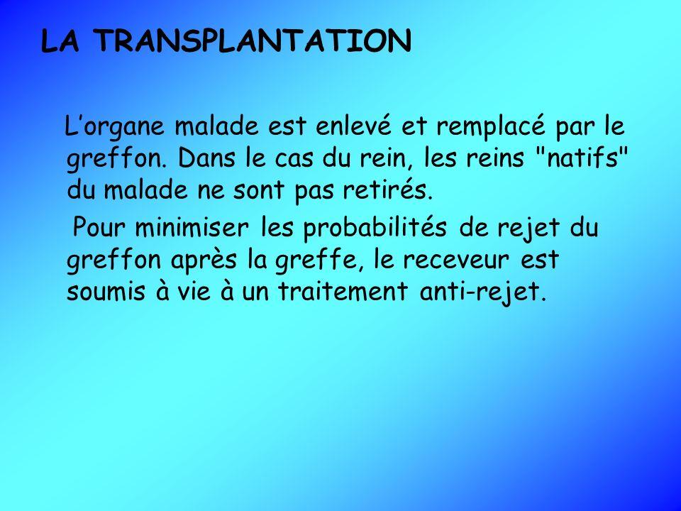 LA TRANSPLANTATION Lorgane malade est enlevé et remplacé par le greffon. Dans le cas du rein, les reins