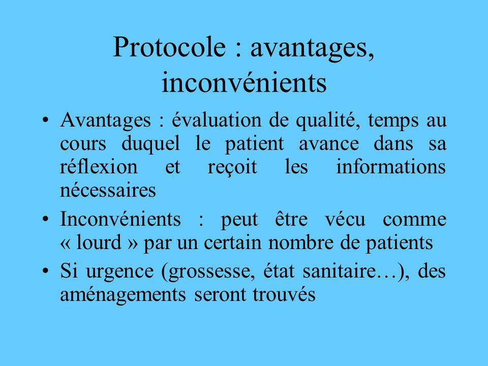 Protocole : avantages, inconvénients Avantages : évaluation de qualité, temps au cours duquel le patient avance dans sa réflexion et reçoit les inform