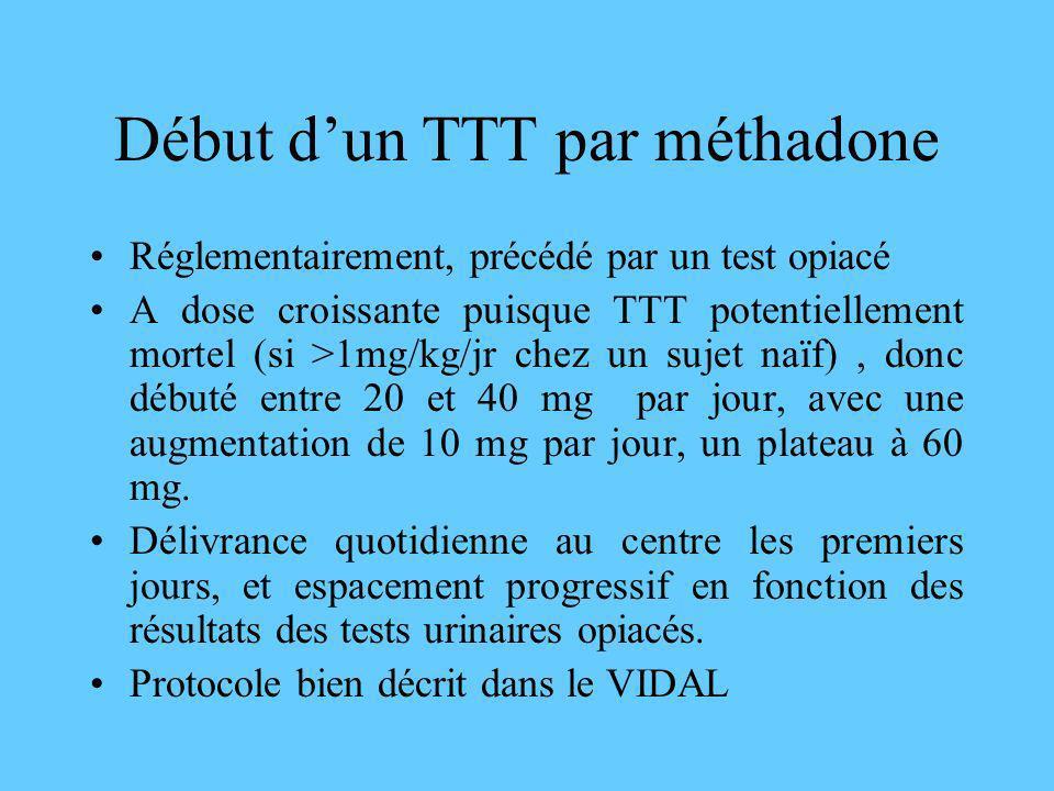 Début dun TTT par méthadone Réglementairement, précédé par un test opiacé A dose croissante puisque TTT potentiellement mortel (si >1mg/kg/jr chez un
