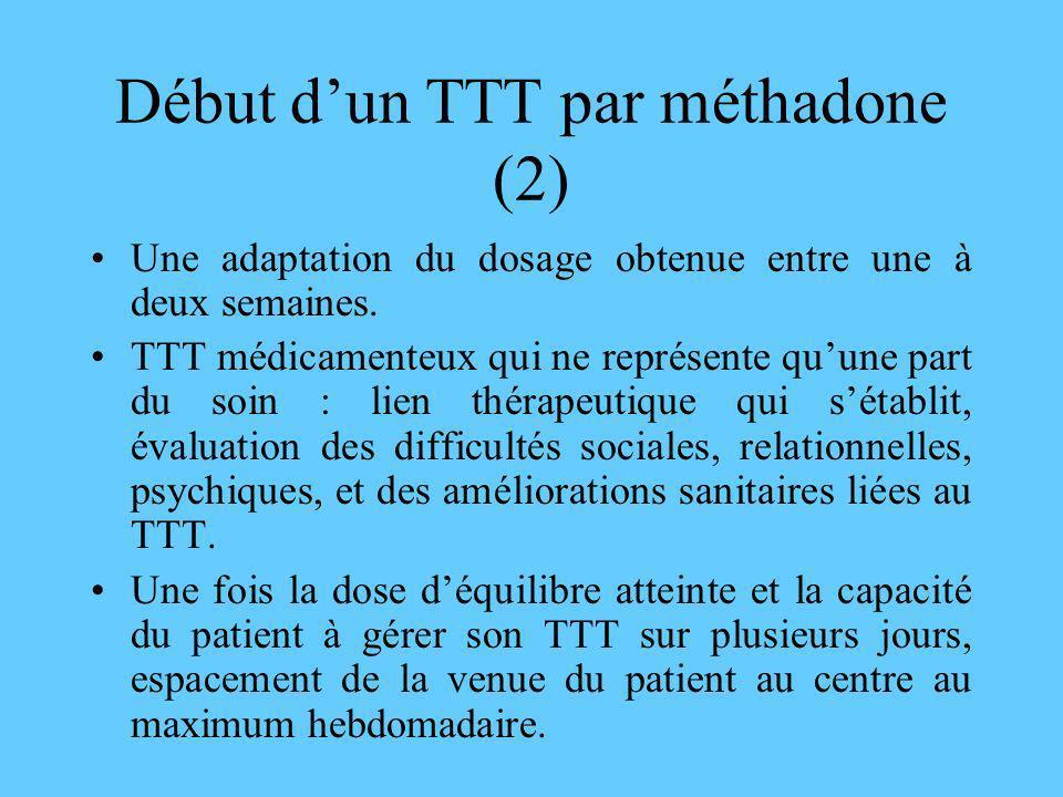 Début dun TTT par méthadone (2) Une adaptation du dosage obtenue entre une à deux semaines. TTT médicamenteux qui ne représente quune part du soin : l
