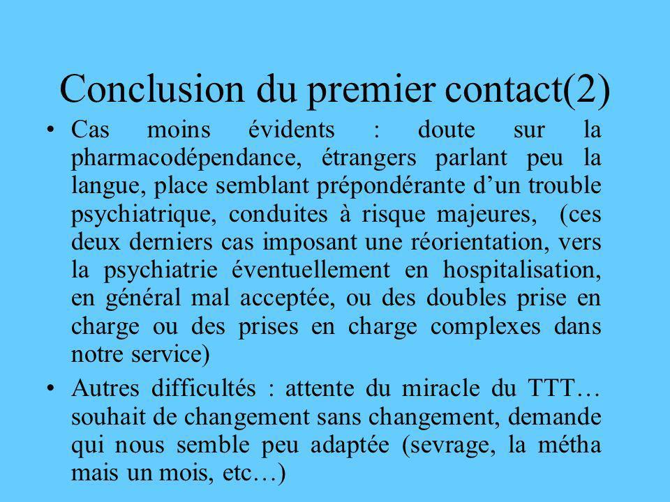 Conclusion du premier contact(2) Cas moins évidents : doute sur la pharmacodépendance, étrangers parlant peu la langue, place semblant prépondérante d
