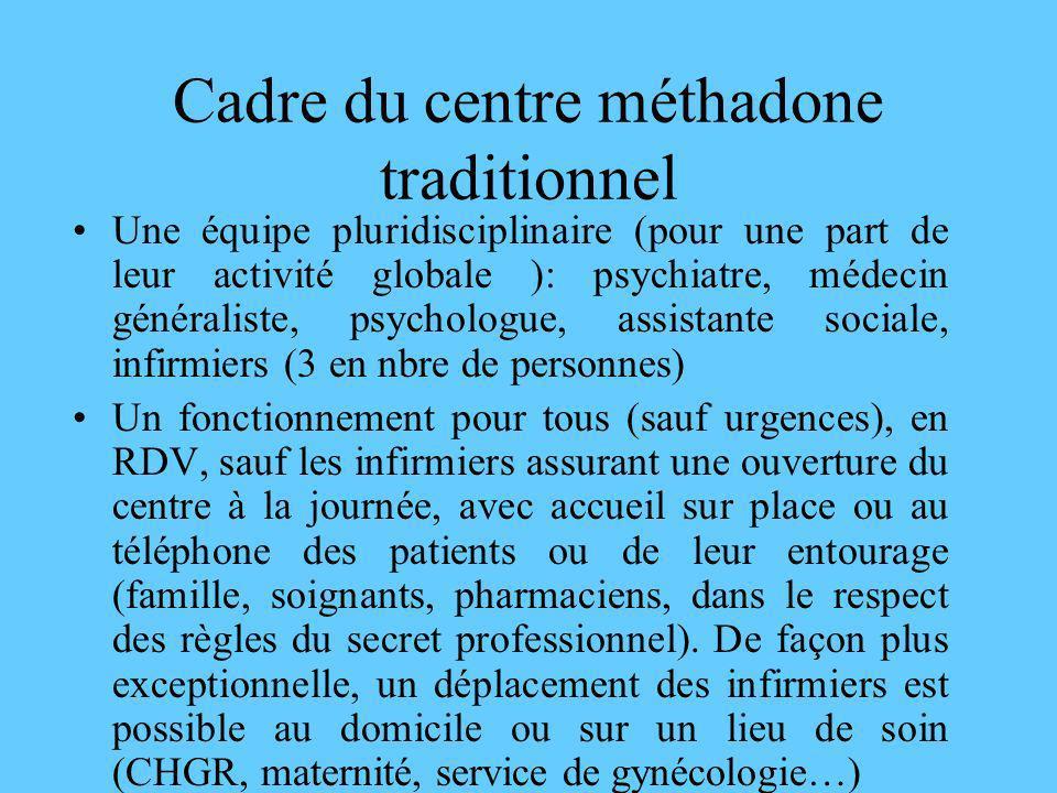 Cadre du centre méthadone traditionnel Une équipe pluridisciplinaire (pour une part de leur activité globale ): psychiatre, médecin généraliste, psych