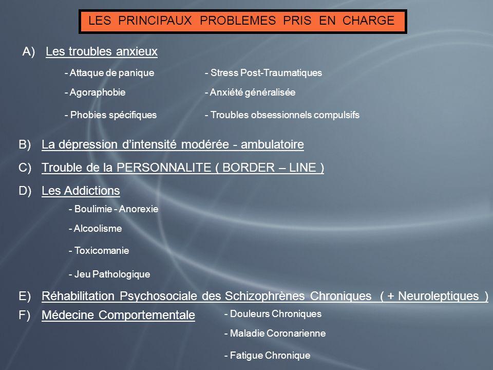 LES PRINCIPAUX PROBLEMES PRIS EN CHARGE A)Les troubles anxieux - Attaque de panique - Agoraphobie - Phobies spécifiques - Stress Post-Traumatiques - A