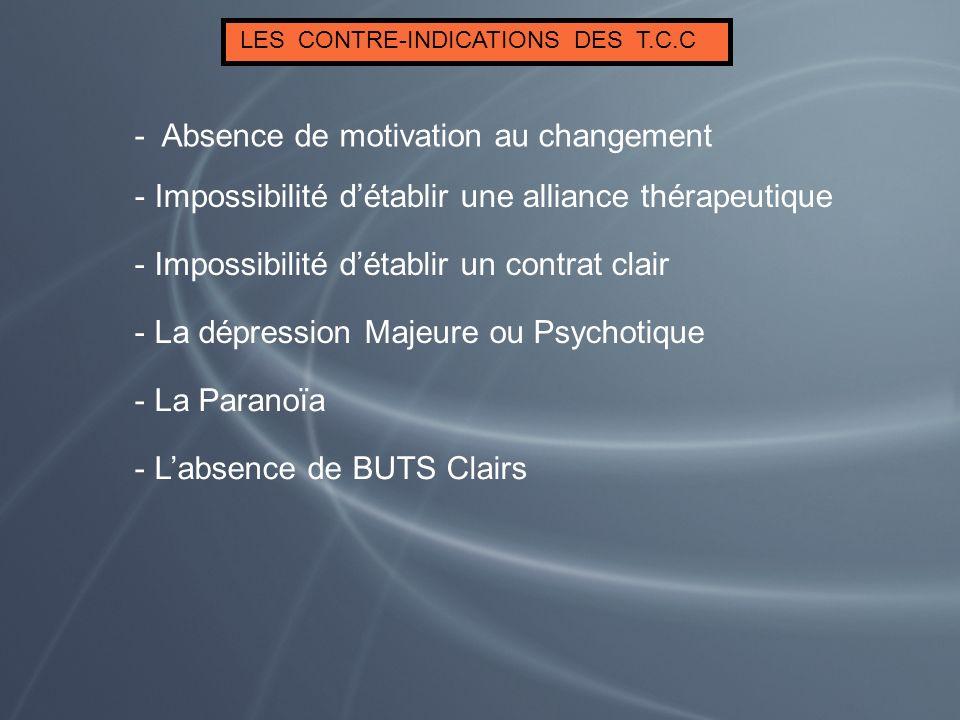 LES CONTRE-INDICATIONS DES T.C.C - Impossibilité détablir un contrat clair - Impossibilité détablir une alliance thérapeutique - Absence de motivation