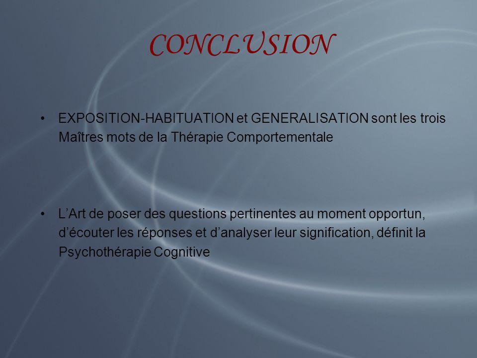 CONCLUSION EXPOSITION-HABITUATION et GENERALISATION sont les trois Maîtres mots de la Thérapie Comportementale LArt de poser des questions pertinentes