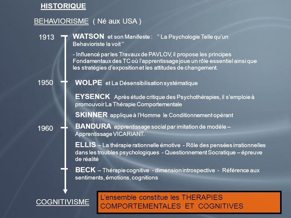 HISTORIQUE BEHAVIORISME ( Né aux USA ) 1913 WATSON et son Manifeste : La Psychologie Telle quun Behavioriste la voit - Influencé par les Travaux de PA