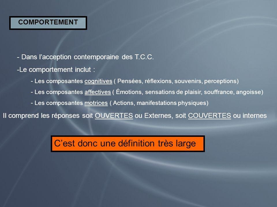 COMPORTEMENT - Dans lacception contemporaine des T.C.C. -Le comportement inclut : - Les composantes cognitives ( Pensées, réflexions, souvenirs, perce