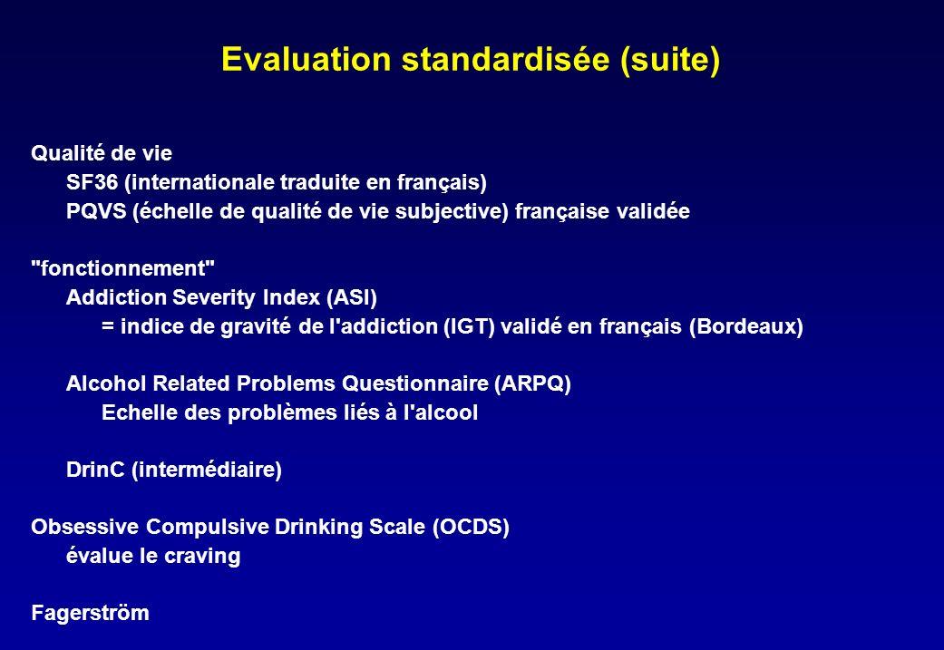 Evaluation standardisée (suite) Qualité de vie SF36 (internationale traduite en français) PQVS (échelle de qualité de vie subjective) française validée fonctionnement Addiction Severity Index (ASI) = indice de gravité de l addiction (IGT) validé en français (Bordeaux) Alcohol Related Problems Questionnaire (ARPQ) Echelle des problèmes liés à l alcool DrinC (intermédiaire) Obsessive Compulsive Drinking Scale (OCDS) évalue le craving Fagerström