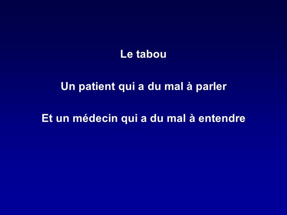 Le tabou Un patient qui a du mal à parler Et un médecin qui a du mal à entendre