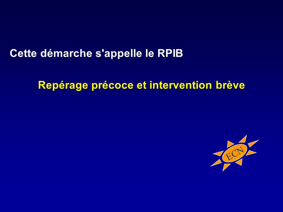 Cette démarche s appelle le RPIB Repérage précoce et intervention brève ECN