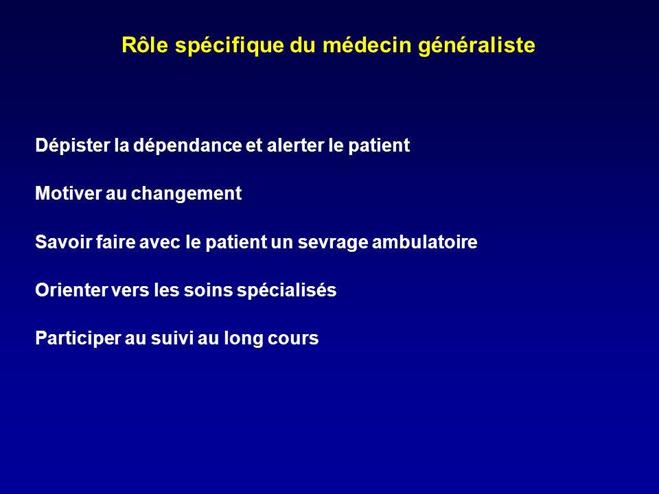 Rôle spécifique du médecin généraliste Dépister la dépendance et alerter le patient Motiver au changement Savoir faire avec le patient un sevrage ambulatoire Orienter vers les soins spécialisés Participer au suivi au long cours
